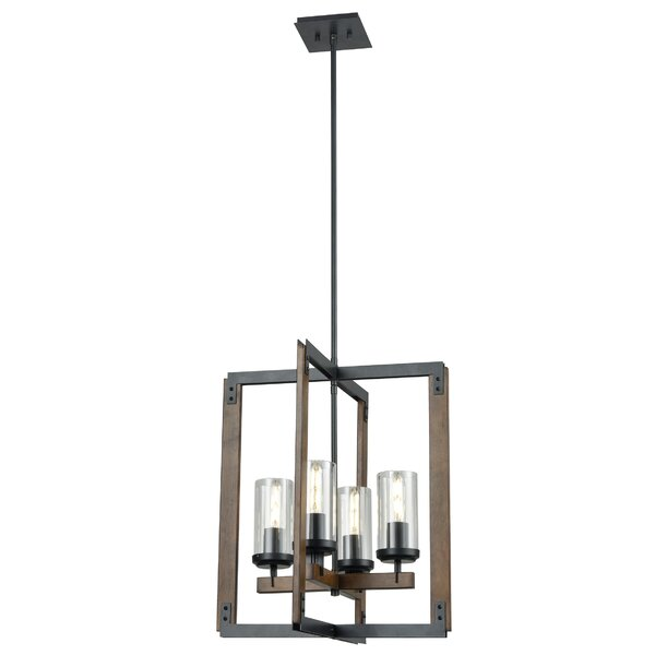 Apalachin 4 - Light Unique Geometric Chandelier With Wood Accents By Gracie Oaks
