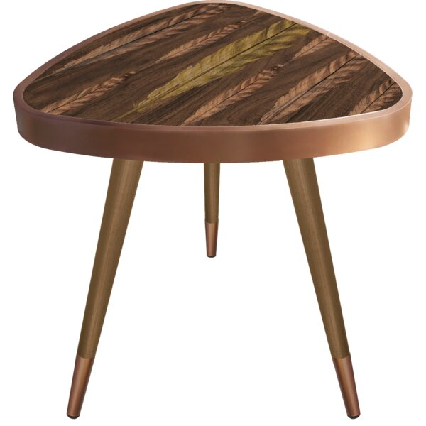 Oquendo Print Triangle Wooden End Table by Bungalow Rose