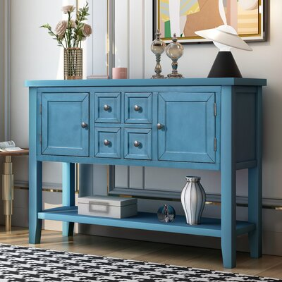 "Breakwater Bay Batson 46"" Wide 4 Drawer Acacia Wood Serverr  Color: Steel Blue"