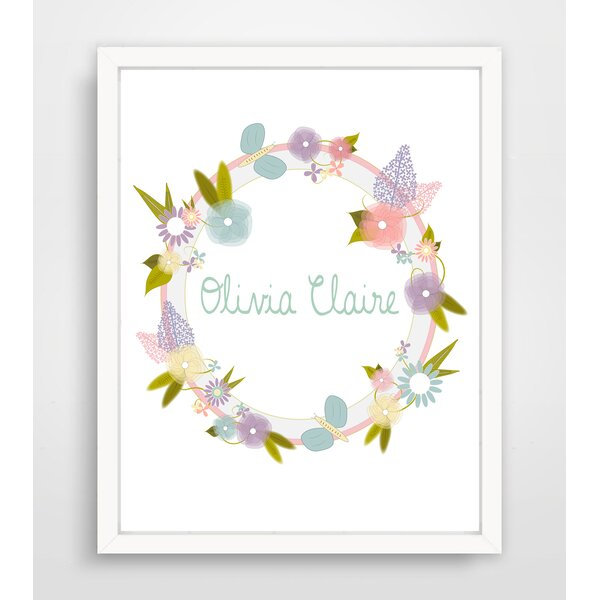 Lilac and Butterfly Name Wreath Framed Paper Print by Finny and Zook