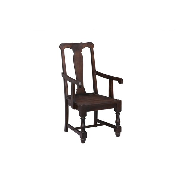 Alameda Solid Wood Arm Chair In Brown By Charlton Home