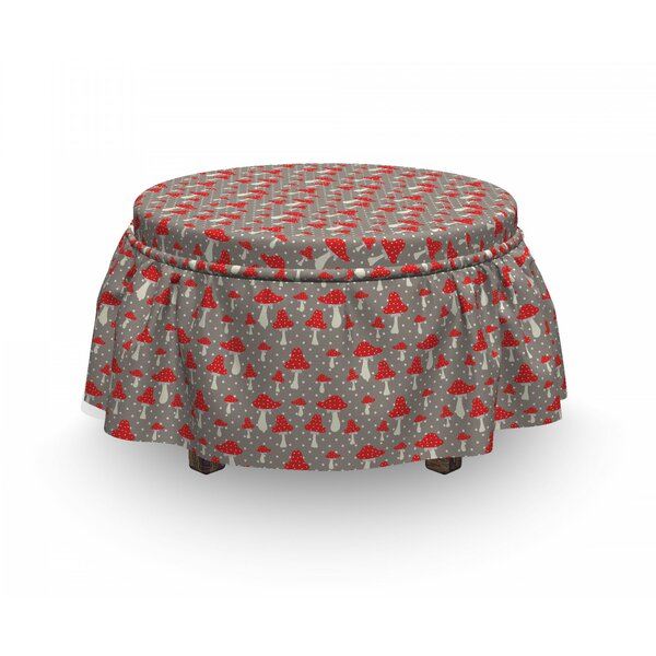 Mushroom Amanita Polka Dot 2 Piece Box Cushion Ottoman Slipcover Set By East Urban Home