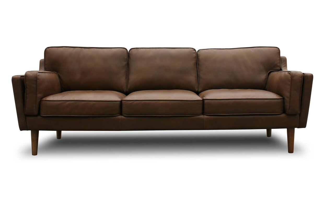 Century leather sofa mathias mid century wood frame for Modern leather furniture