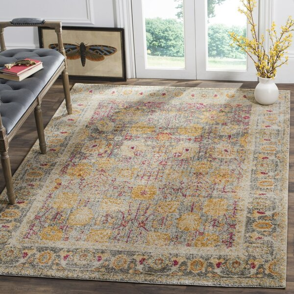 Edna Beige/Yellow Area Rug by Bungalow Rose