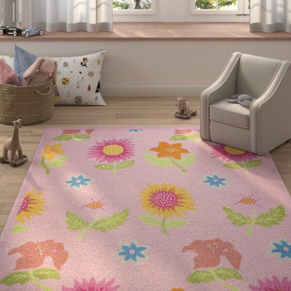 Claro Pink Floral Area Rug by Harriet Bee
