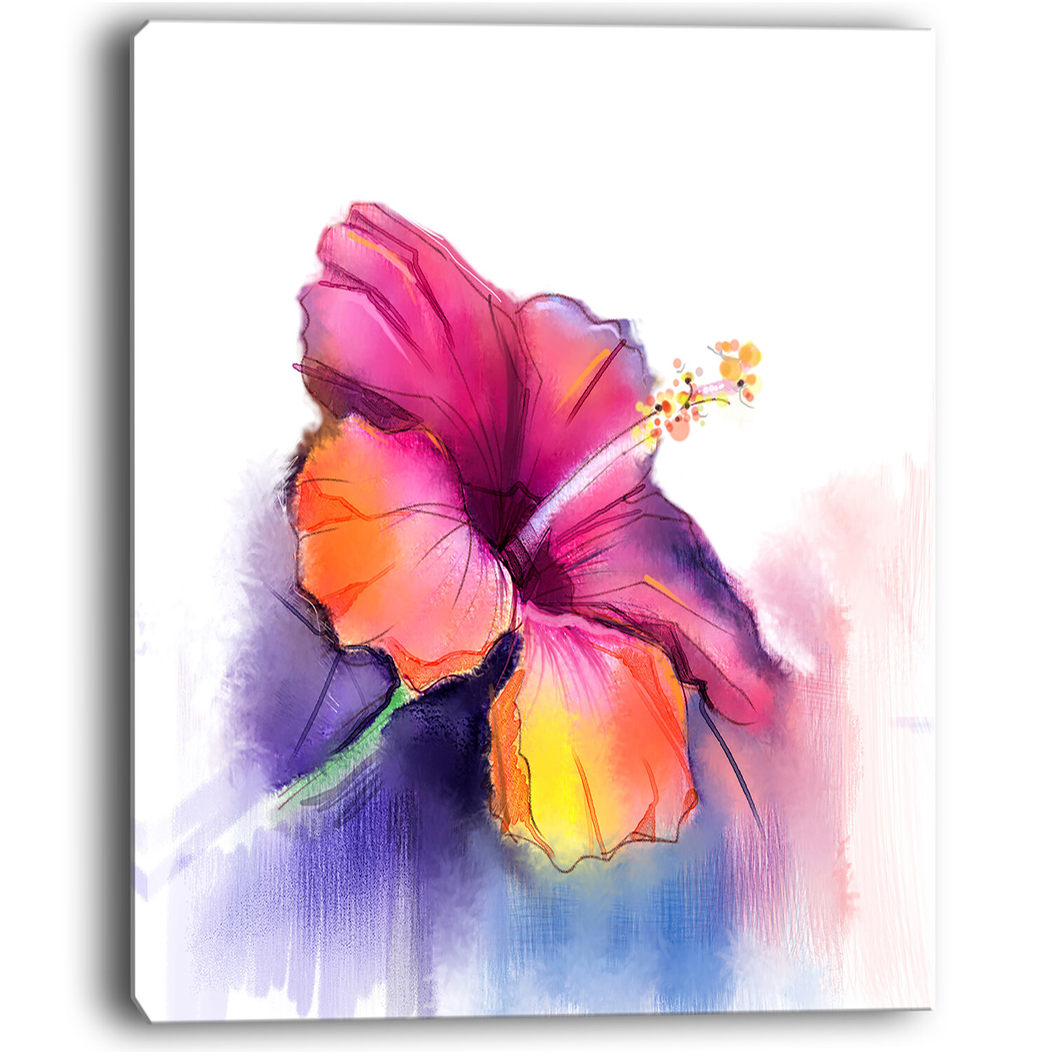 Designart Red Yellow Hibiscus Flower In Blue Large Flower Painting