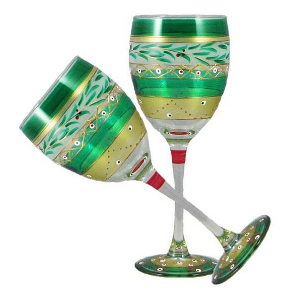 Christmas Garland Wine Glass (Set of 2) by Golden Hill Studio