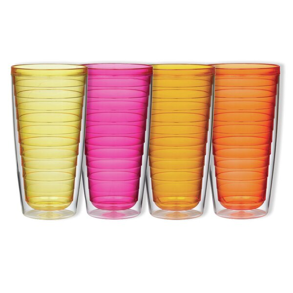 4-Piece 24 oz. Plastic Double Wall Glass Set by Boston Warehouse Trading Corp