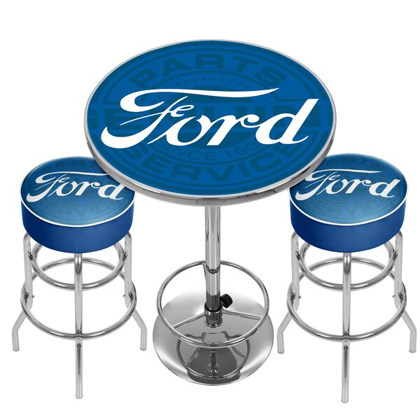 Ford Genuine Parts Game Room Combo 3 Piece Pub Table Set by Trademark Global
