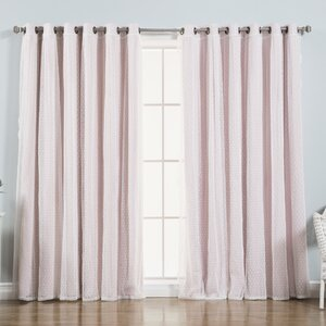 Mix and Match Polka Dots Blackout Thermal Grommet Single Curtain Panel