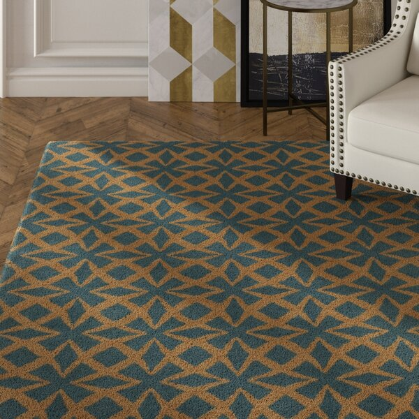 Erith Hand Tufted Rectangle Contemporary Blue/Gold Area Rug by Mercer41