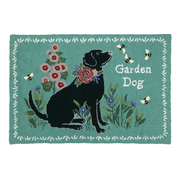 Garden Dog Teal Area Rug by Suzanne Nicoll Studio