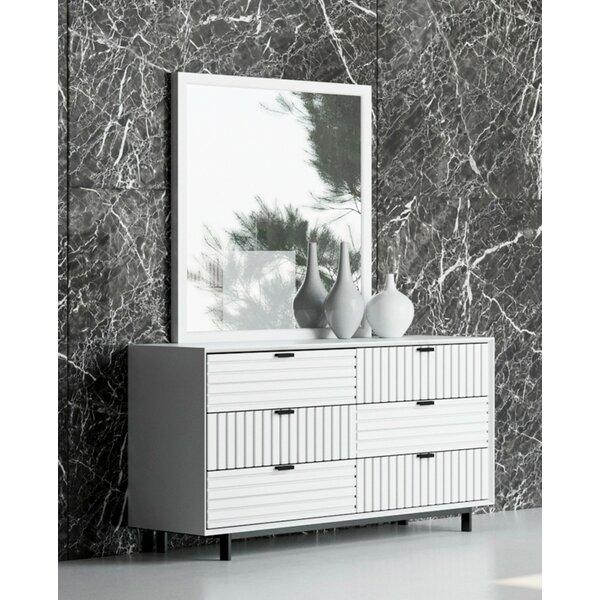 Arnett 6 Drawer Double Dresser with Mirror by Trule Teen