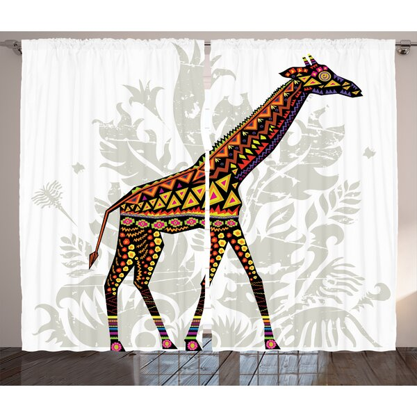 Yate Batik Graphic Print and Text Semi-Sheer Rod Pocket Curtain Panels (Set of 2) by World Menagerie