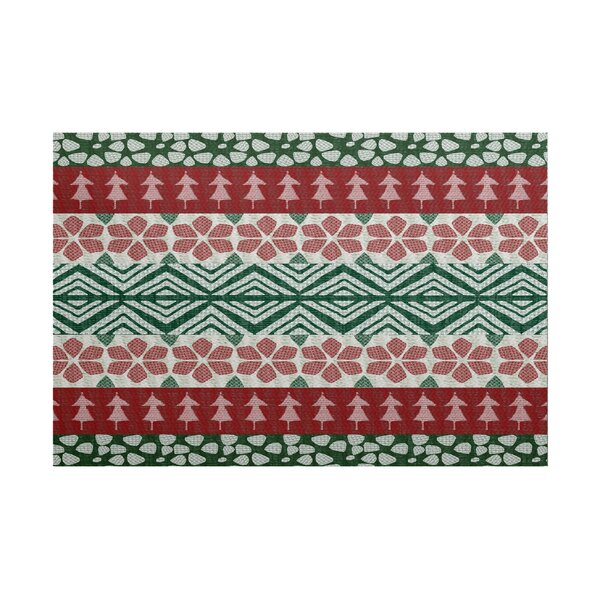Fair Isle Red/Green Indoor/Outdoor Area Rug by The