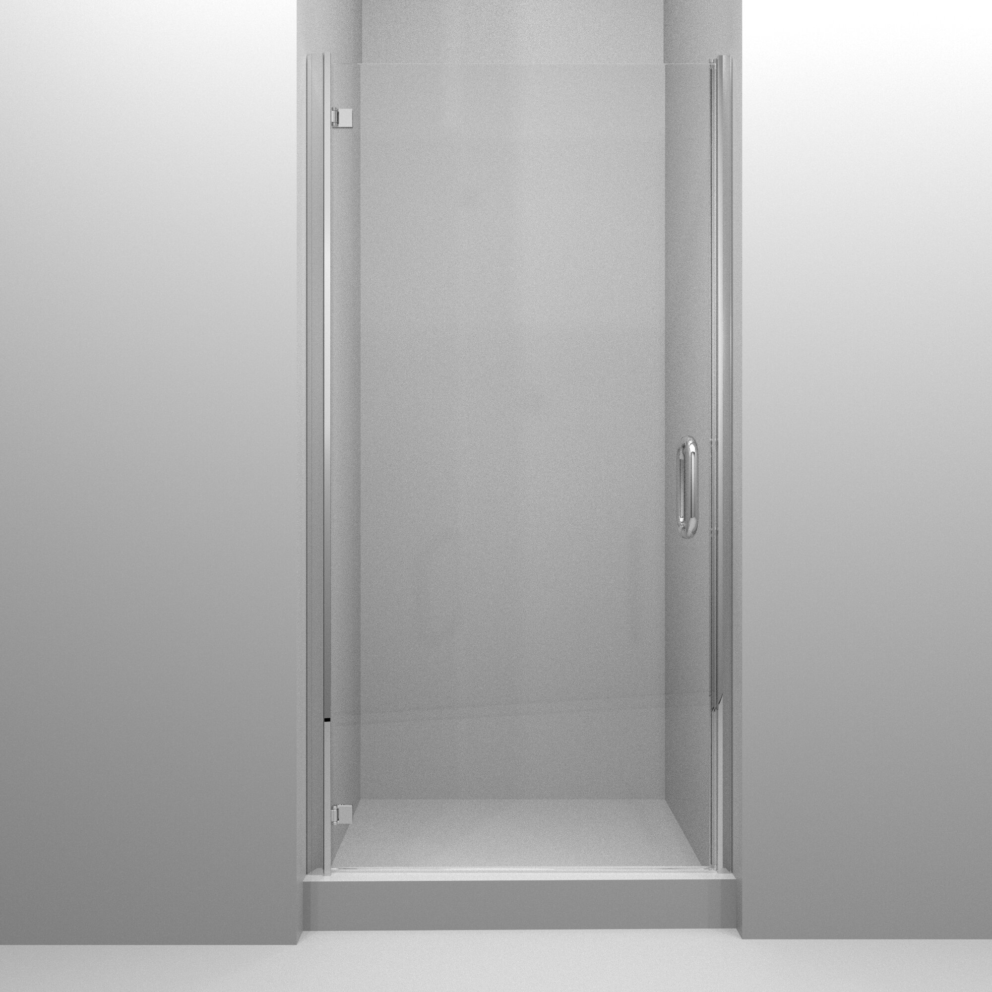 Mp Swinging 33 X 67 Hinged Semi Frameless Shower Door
