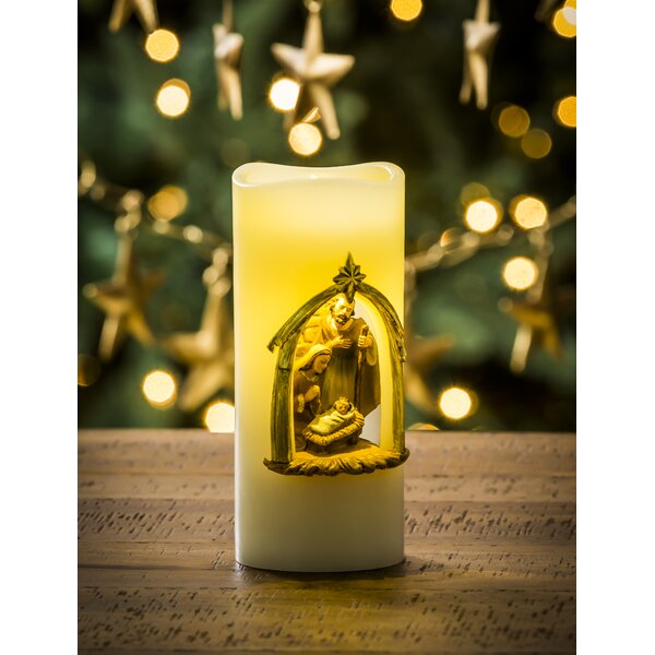 Wholesale Battery Operated LED Wax Holy Family Pillar Unscented Flameless Candle by The Holiday Aisle