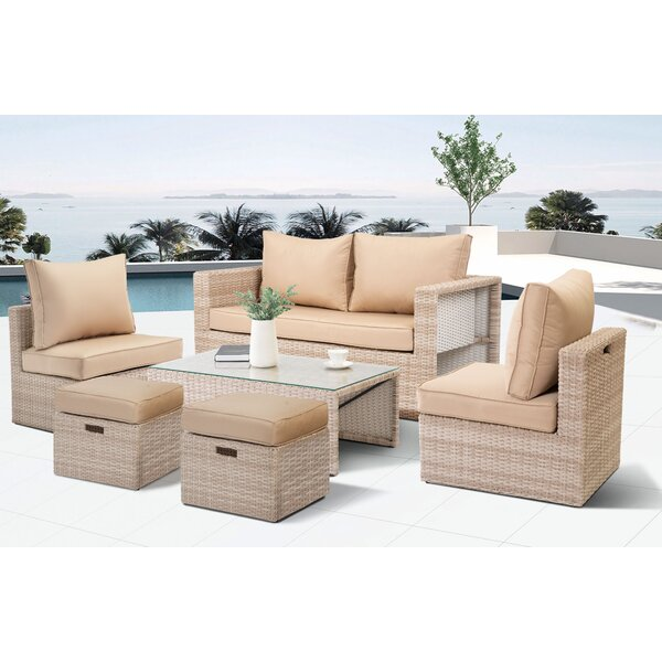 Veronica Outdoor Patio 6 Piece Sofa Seating Group with Cushions by Rosecliff Heights