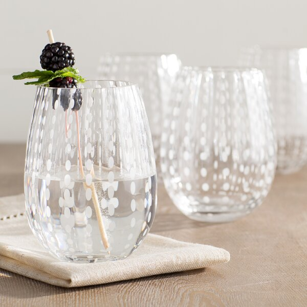 Blue Hill 18 oz. Stemless Wine Glass (Set of 4) by Beachcrest Home