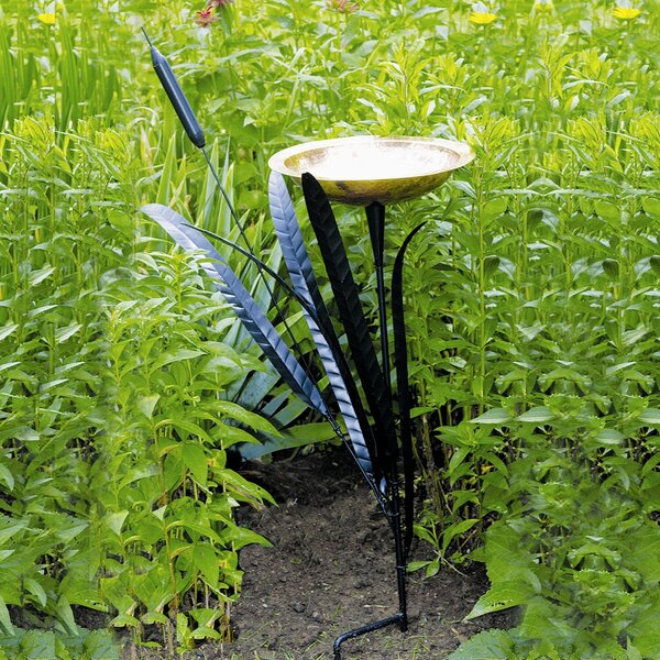 Single Cattail Birdbath by ACHLA