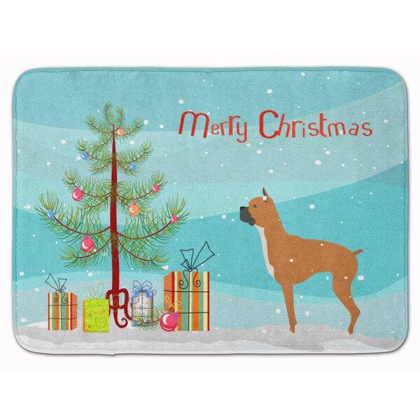 Boxer Merry Christmas Tree Memory Foam Bath Rug