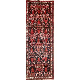 Affordable Price One-of-a-Kind Lindley Traditional Zanjan Persian Hand-Knotted Runner 3'5 x 9'8 Wool Black/Burgundy Area Rug By Isabelline