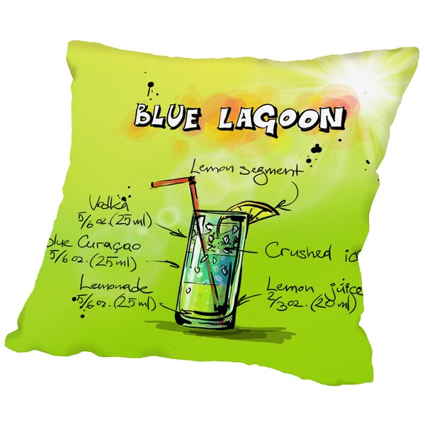 Blue Lagoon Cocktail Throw Pillow by East Urban Home
