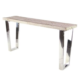 Allgood Modern Stainless Steel and Wood Console Table by Foundry Select