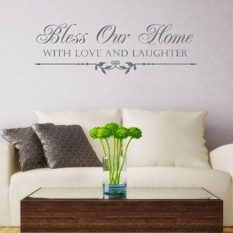 Bless This Home with Love and Laughter Wall Decal by Decal the Walls