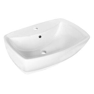 Check Prices Ceramic Rectangular Vessel Bathroom Sink with Overflow ByRoyal Purple Bath Kitchen