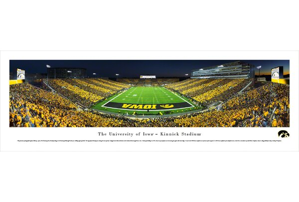 NCAA Iowa, University of - End Zone - Stripe by James Blakeway Photographic Print by Blakeway Worldwide Panoramas, Inc