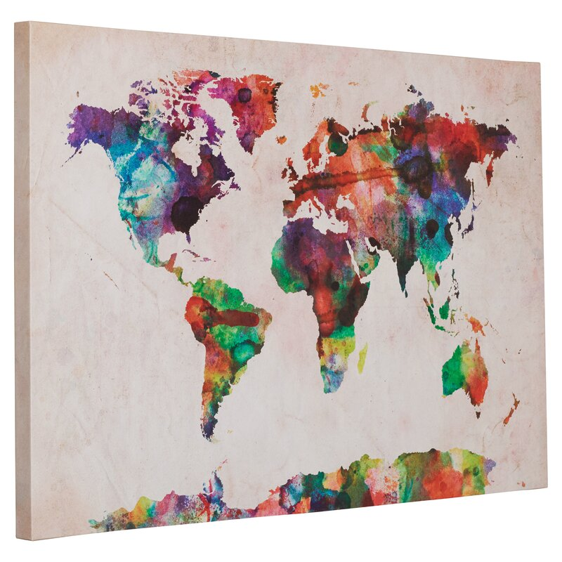 Mistana urban watercolor world map framed on beige canvas urban watercolor world map framed on beige canvas gumiabroncs Image collections
