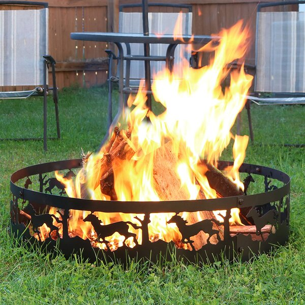 Running Horse Steel Wood Fire Ring by Wildon Home
