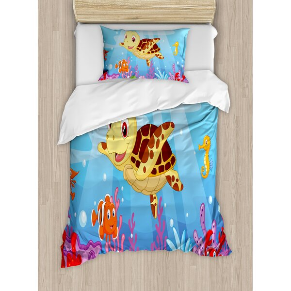 Funny Adorable Cartoon Style Underwater Sea Animals Baby Turtle and Fish Duvet Set by Ambesonne