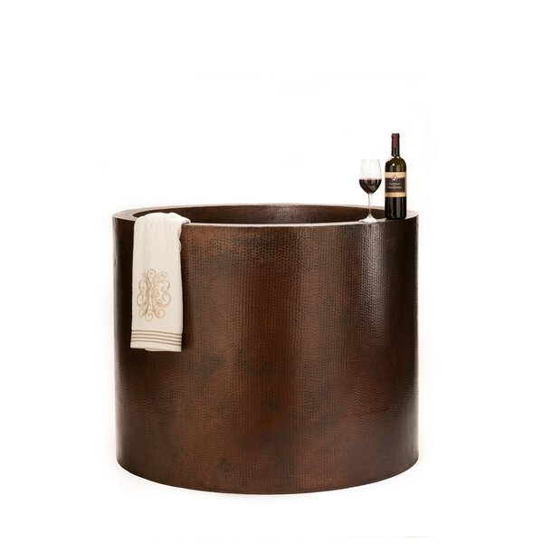 45 x 45 Hand Hammered Japanese Style Copper Whirlpool Bathtub by Premier Copper Products