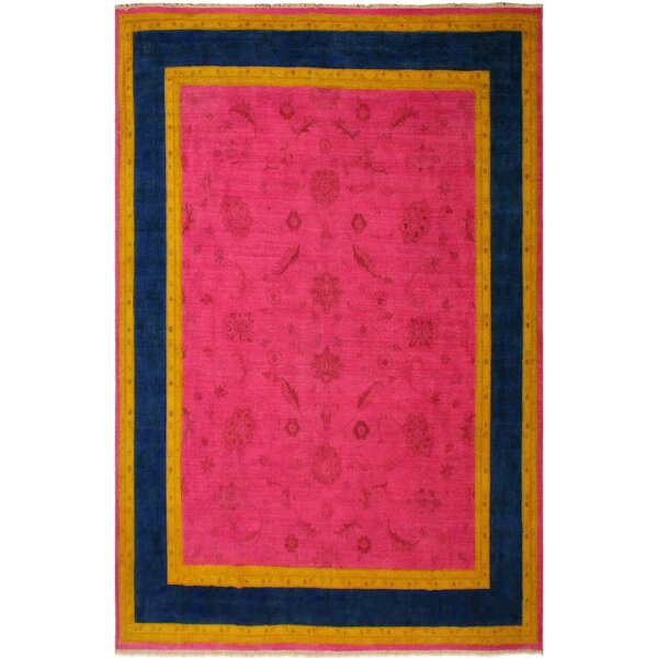 One-of-a-Kind Glenloft Overdyed Color Reform Hand-Knotted Wool Pink Area Rug by Bloomsbury Market
