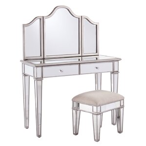 Lyra 2-Piece Mirrored Vanity & Stool Set by Willa Arlo Interiors