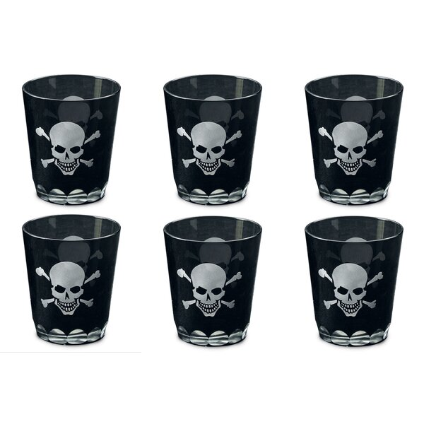 Kindwer Skull and Crossbones Etched Rock Glass (Set of 6) by The Holiday Aisle