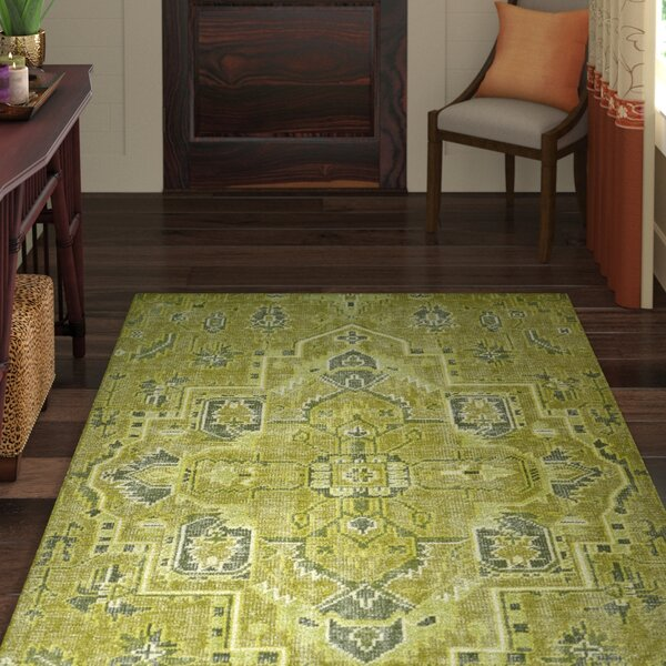 Aanya Hand-Knotted Avocado Area Rug by World Menagerie