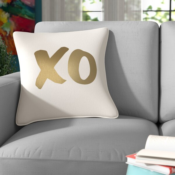 Carnell XO Square Cotton Throw Pillow by Mercury Row
