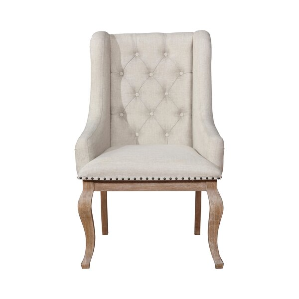 Devizes Tufted Arm Chair in Cream by One Allium Way One Allium Way
