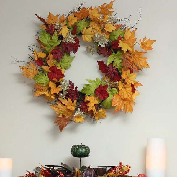Autumn Harvest Thanksgiving 22 Maple Leaf Artificial Floral Wreath by Alcott Hill