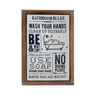 High Quality Osterley Rectangular Bathroom Rules Iron Wall Decor