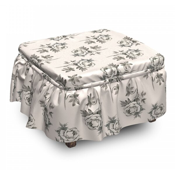 Hand Drawn Romantic Rose Ottoman Slipcover (Set Of 2) By East Urban Home