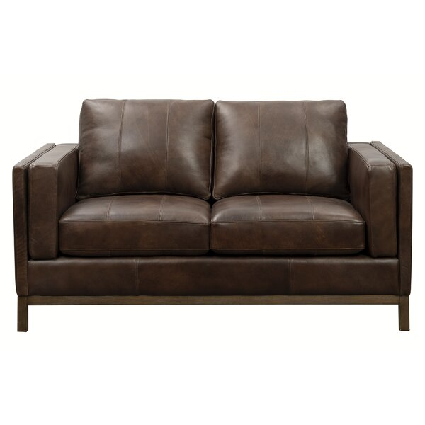 Tabor Leather Loveseat by 17 Stories