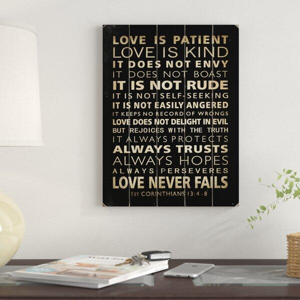 Love Is Patient Textual Art by Red Barrel Studio