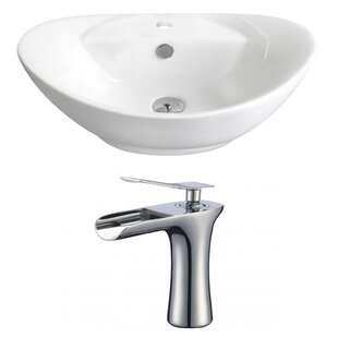 Affordable Price Above Counter Ceramic Oval Vessel Bathroom Sink with Faucet and Overflow ByRoyal Purple Bath Kitchen