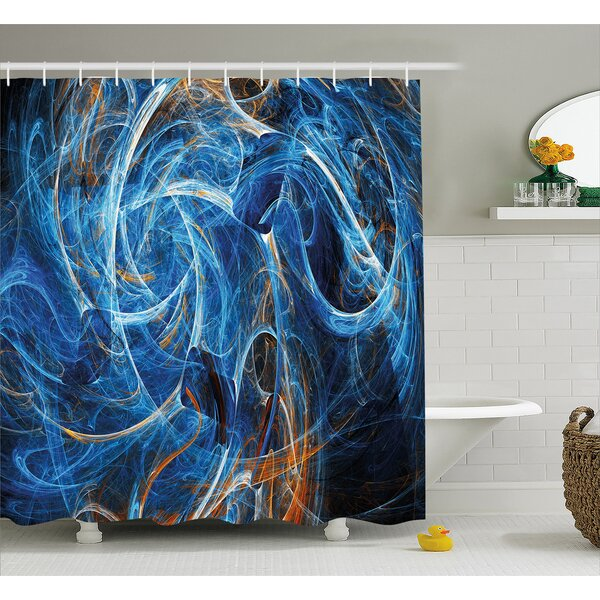 Abstract Curves Shower Curtain by East Urban Home