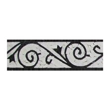 4 x 12 Marble Nero Marquina Art Border Tile in Black/White (Set of 10) by Seven Seas