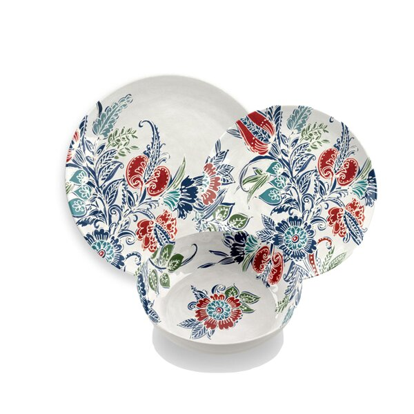 Havana Floral Melamine 12 Piece Dinnerware Set, Service for 4 by TarHong